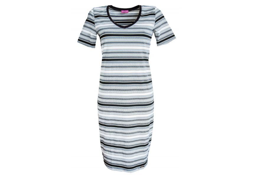 Pruhované šaty s výstřihem do V