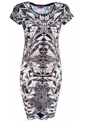 Černo bílé hladké šaty