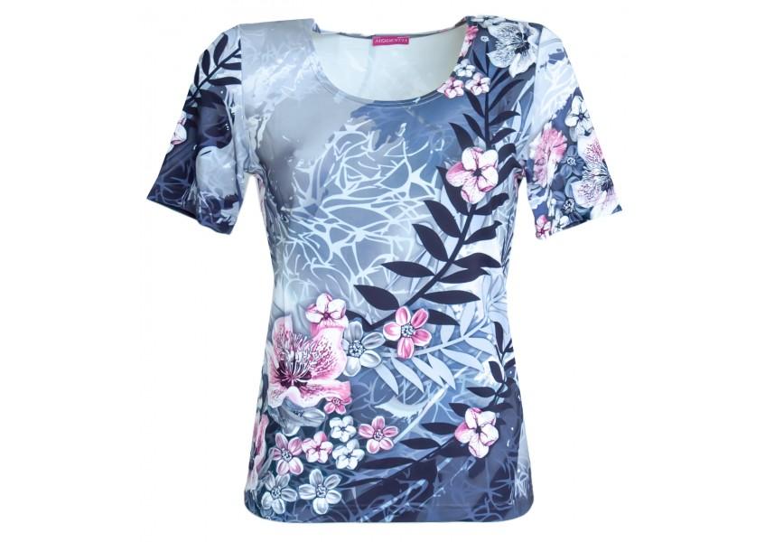 Šedé triko s tiskem květů