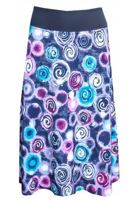 Delší sukně s barevnými koly