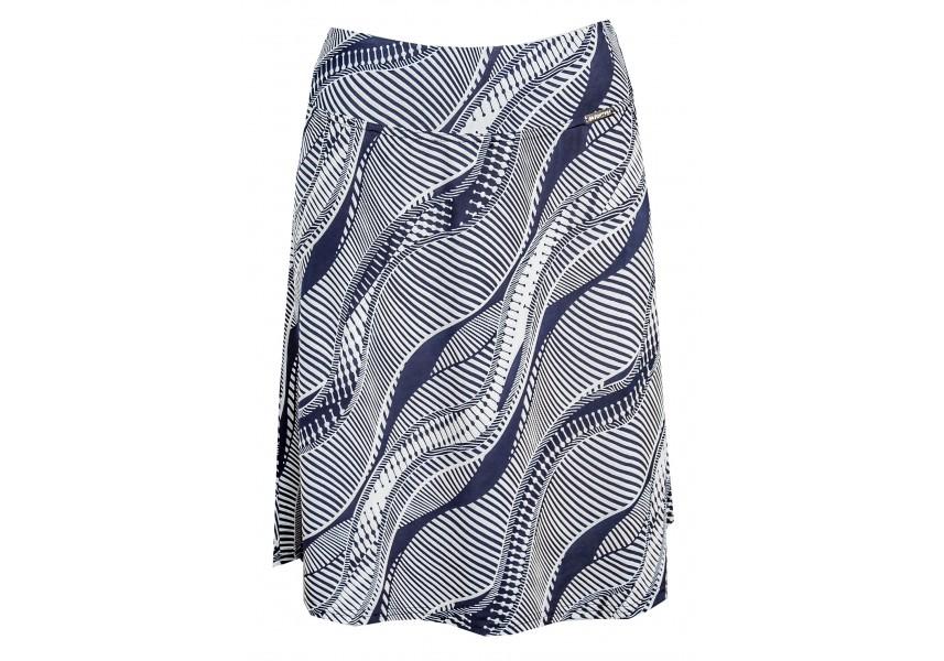 Modrá letní sukně s bílým tiskem