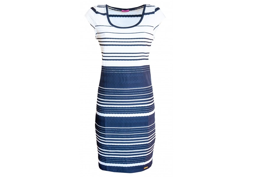 Pruhované šaty s plastickým vzorem