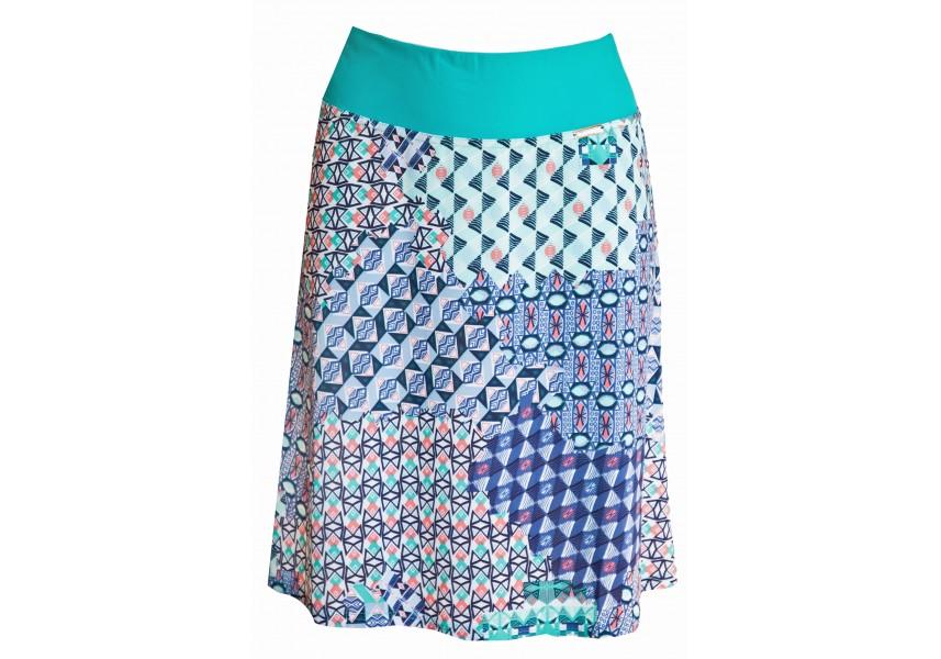 Tyrkysová sukně se vzorem