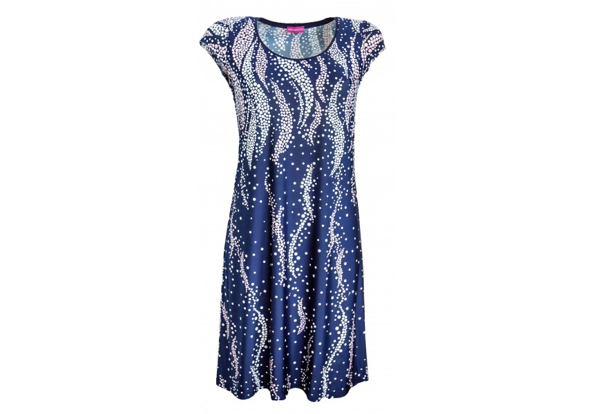 Letní modré šaty s plastickým tiskem