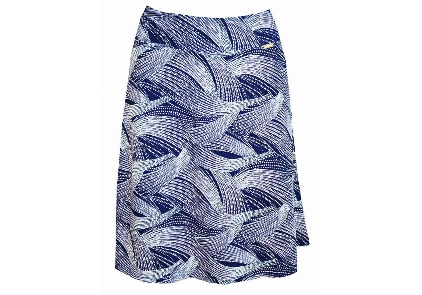 Modrá slabá sukně s tiskem