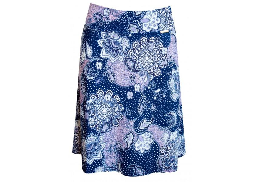 Modrá sukně s bílo fialkovým tiskem