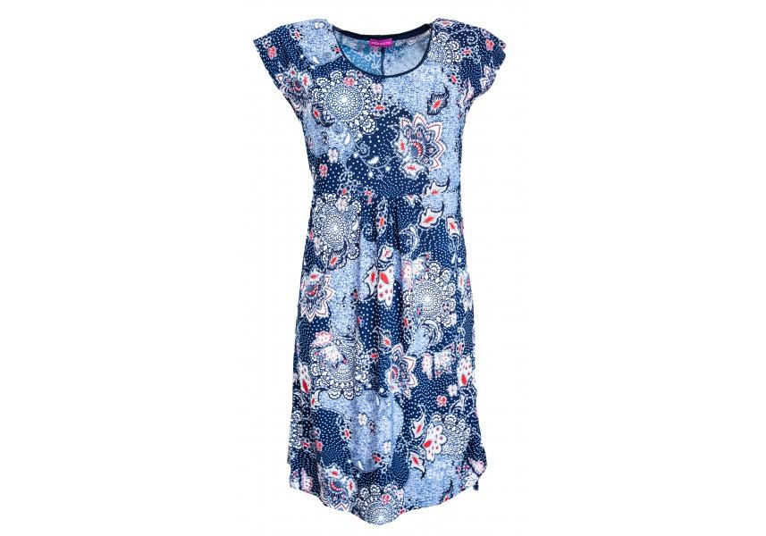 Letní modré šaty s tiskem