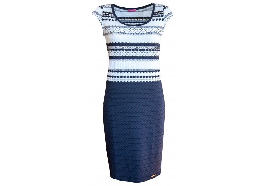 Modro bílé pruhované šaty
