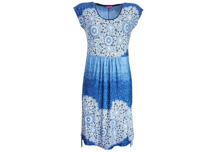 Volné letní šaty s bílým raportem