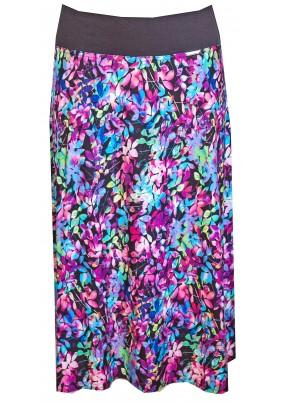 Barevná delší sukně s elastickým pasem