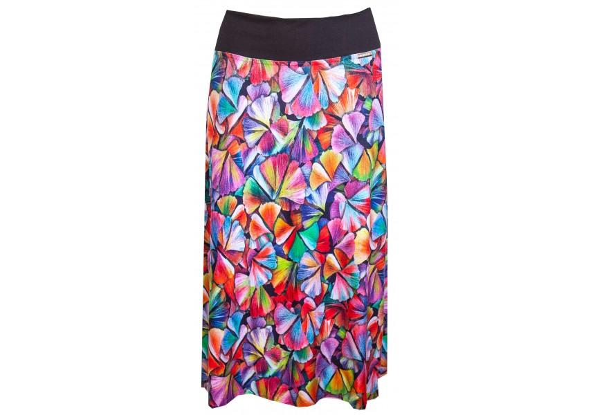 Delší sukně s barevným tiskem