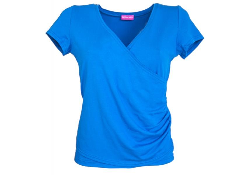 Překřížené triko v modré barvě