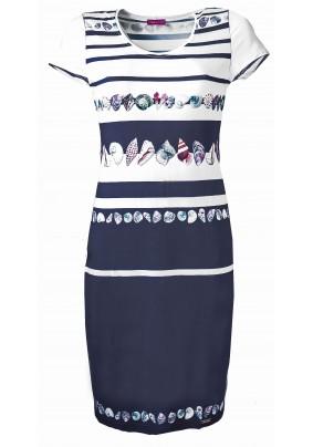 Modro bílé šaty s krátkým rukávem
