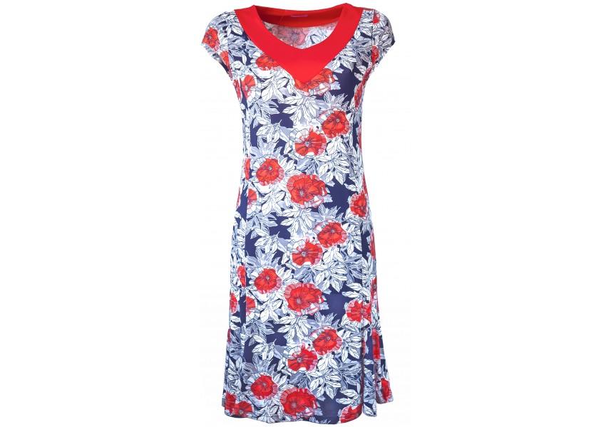 Šaty s červenými květy