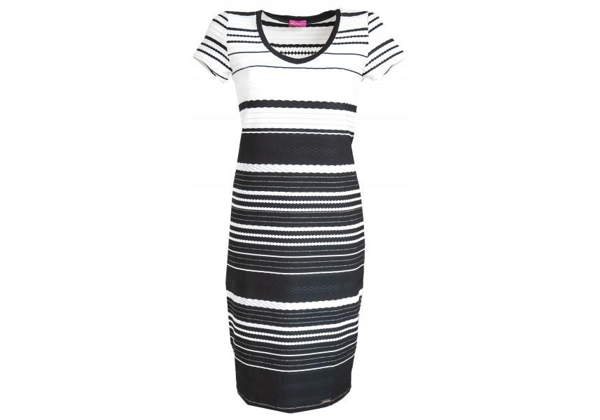 Černo bílé pruhované šaty