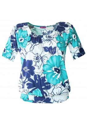 Volná halenka s modrými květy