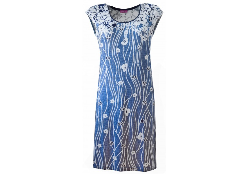 Modré šaty s bílými květy