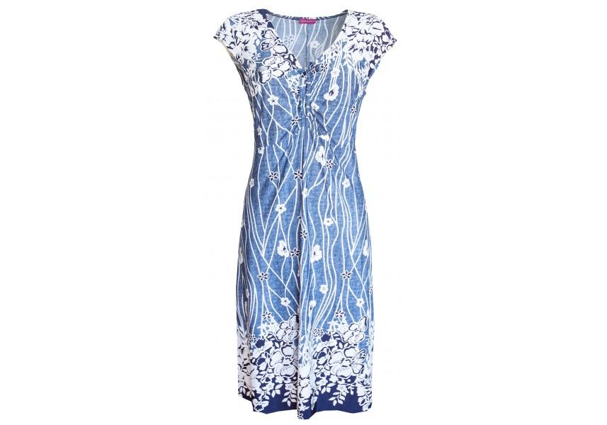 Letní modré šaty s květy