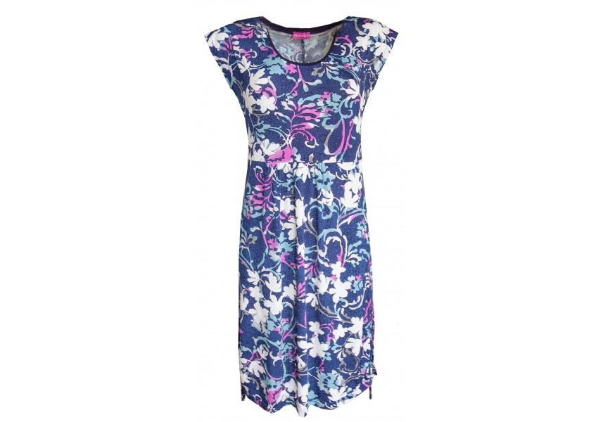 Letní modré šaty s barevným tiskem