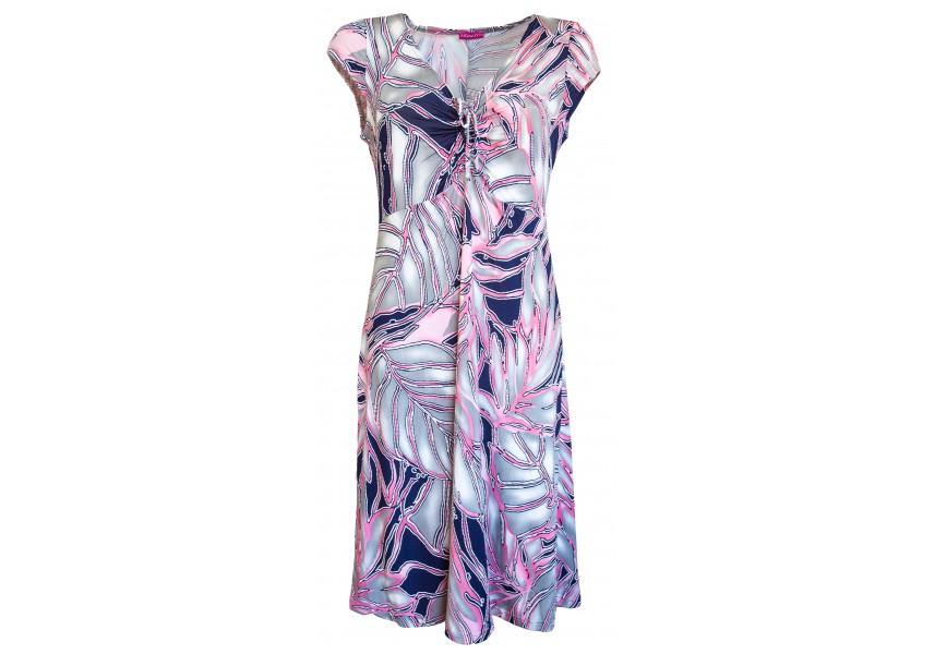 Letní šaty s tiskem listů