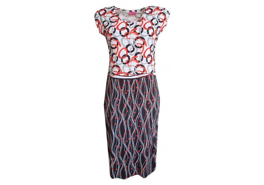 Úzké letní šaty s geometrickým vzorem