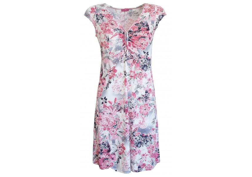 Růžovo šedé letní šaty