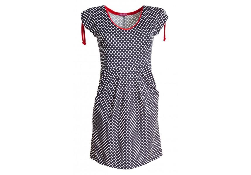 Modré letní šaty s bílými puntíky