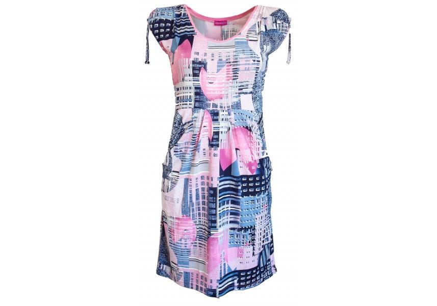 Růžovo modré kapsové šaty