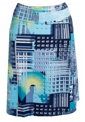 Tyrkysová letní sukně s tiskem