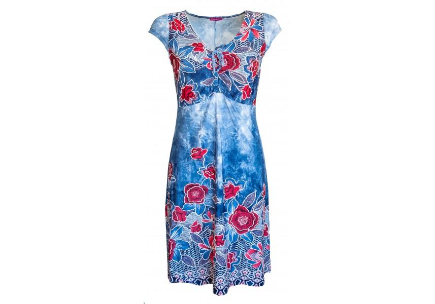 Letní šaty s červenými květy a tiskem