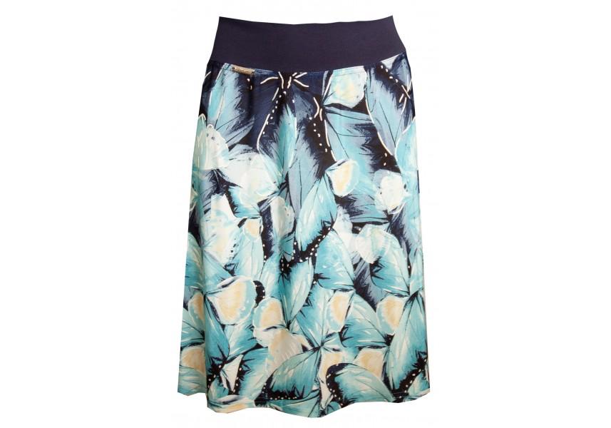 Letní sukně s modro žlutým tiskem