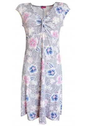 Světle šedé letní šaty s tiskem květů