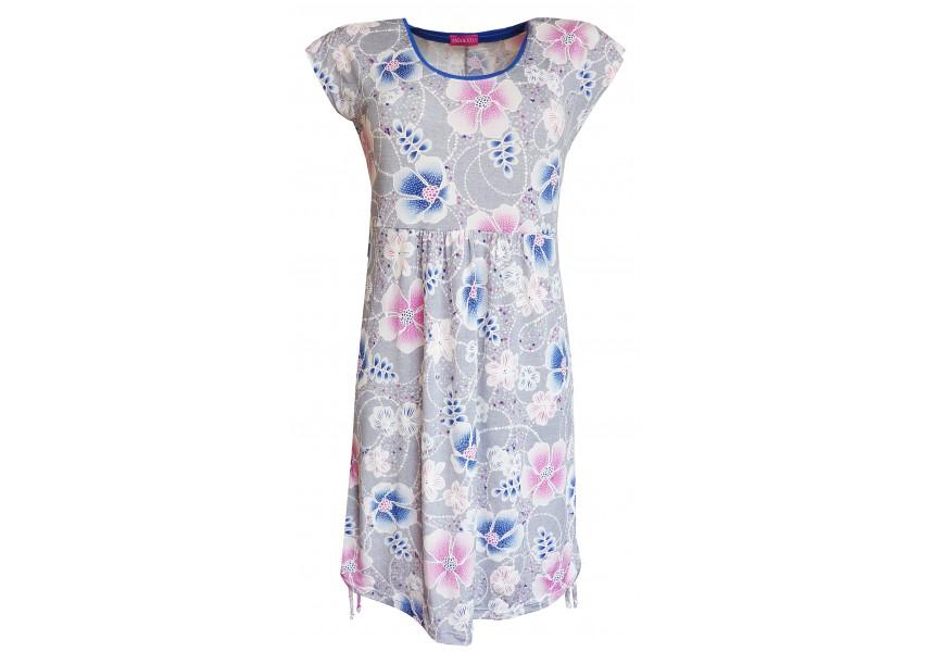Letní volné šedé šaty s tiskem
