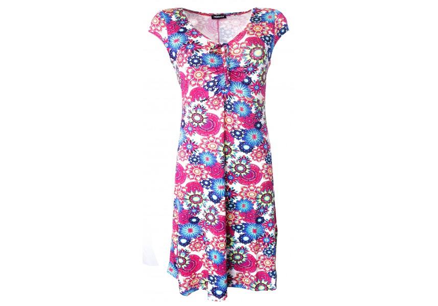 Letní šaty s tiskem modrých květů