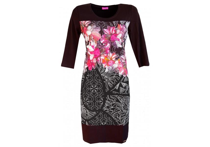 Černé šaty s tiskem květů