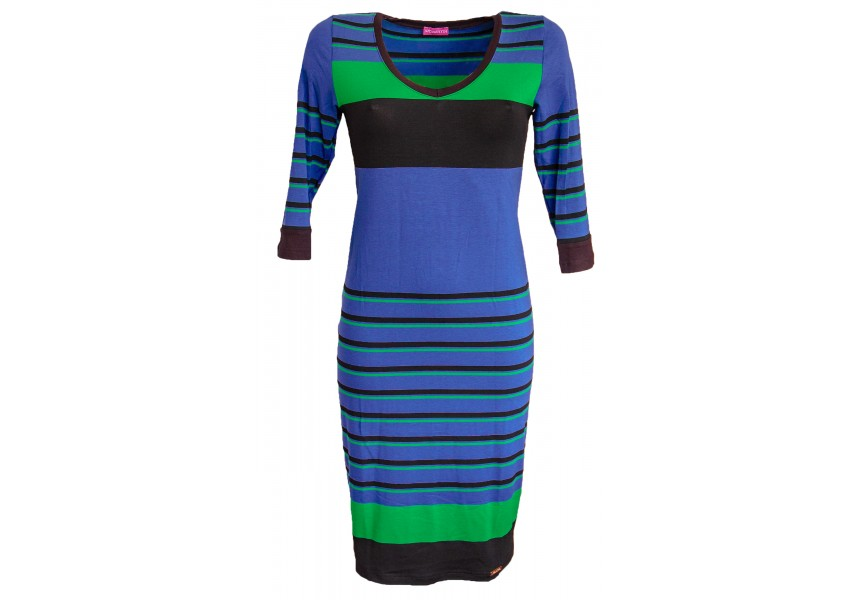 Modro zelené pruhované šaty