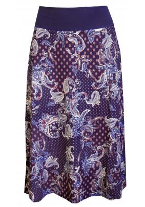 Tmavě modrá sukně s tiskem