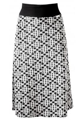 Delší černo bílá sukně se vzorem
