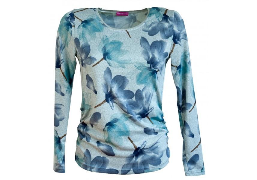 Šedý svetřík s modrými květy
