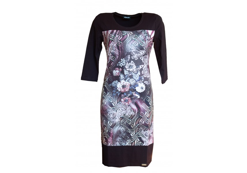 Slabší šaty s růžovým tiskem