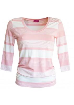 Růžovo bílé pruhované triko