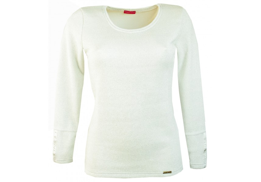 Bílý teplejší svetr s leskem a perličkami