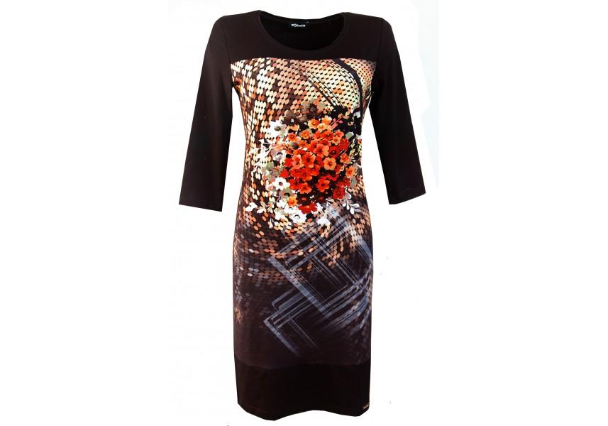 Podzimní šaty s tiskem květů