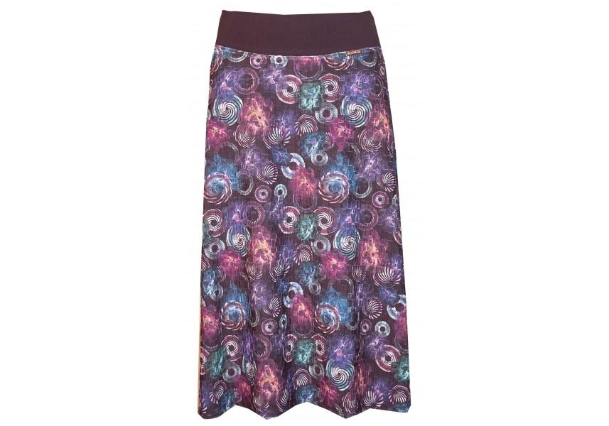 Tmavá podzimní sukně s tiskem