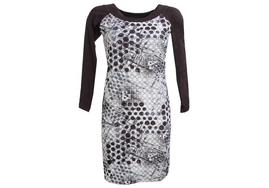 Černo bílé šaty s kulatým výstřihem