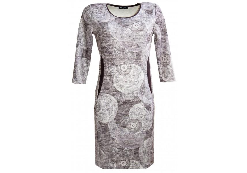 Světle šedé šaty s jemným tiskem