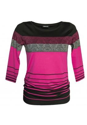 Černo růžové triko s pruhy