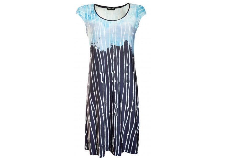 Modré šaty s plastickým tiskem