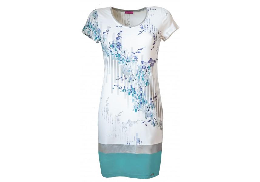 Světlé jarní šaty s krátkým rukávem