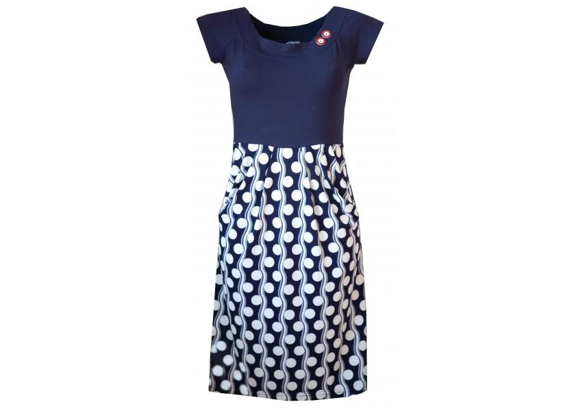 Modro bílé letní šaty s kapsami